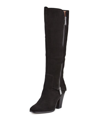 Sandora Suede Double-Zip Tall Boot