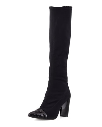 Benne-D Pointy Crepe Knee Boot, Black