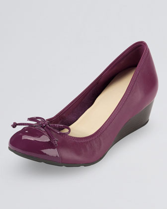 Air Tali Lace-Up Cap-Toe Wedge, Winery