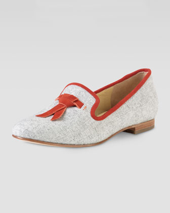 Sabrina Tassel Suede-Trim Flannel Loafer, Light Gray