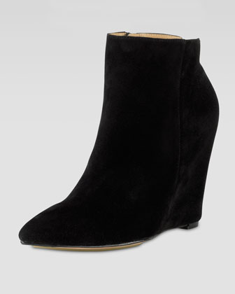 Verdi Suede Point-Toe Bootie, Black