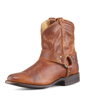 Wyatt Short Leather Harness Boot, Cognac