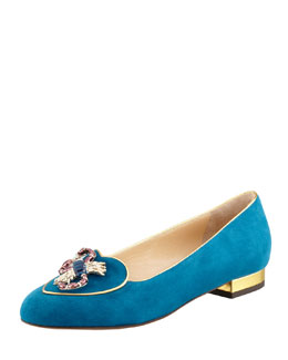 Charlotte Olympia Birthday Scorpio Zodiac Suede Smoking Slipper, Teal