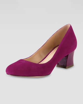 Chelsea Suede Low-Heel Pump, Winery