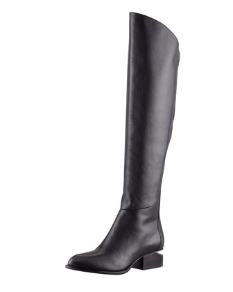 Sigrid Back-Zip Knee Boot, Black