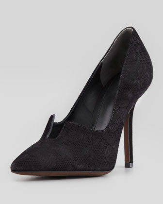 Briella Choked-Up Suede Pump, Black