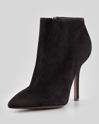Bianca Pointed-Toe Suede Bootie, Black