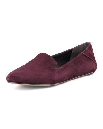 Georgia Suede Smoking Slipper, Plum