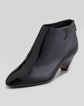 Patent Low-Heel Ankle Bootie, Black