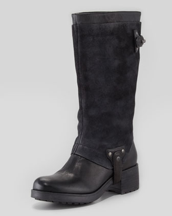 Essie Suede-Shaft Harness Boot, Black