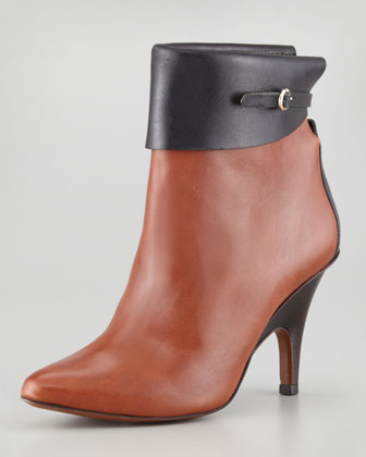 Vicky Two-Tone Leather Bootie