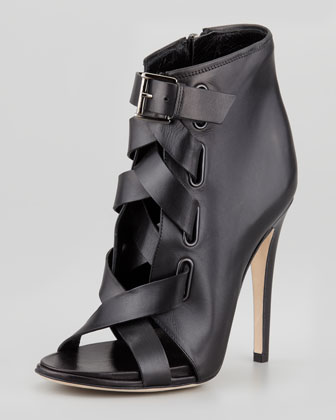 Radcliff Lace-Up Open-Toe Bootie, Black