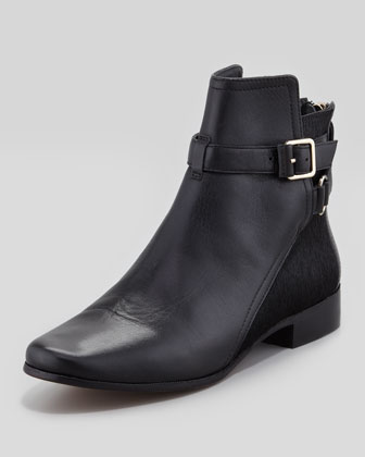 Keith Calf Hair & Leather Ankle Boot, Black