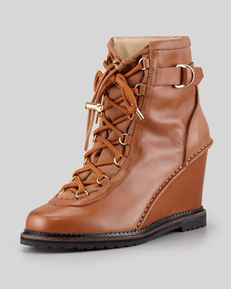 Senna Lace-Up Wedge Boot, Cognac