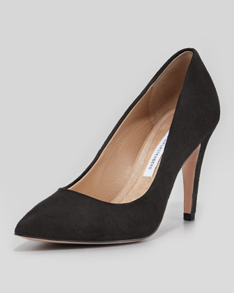 Anette Suede Pump, Black