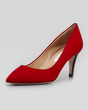 Anette Suede Pump, Crimson Red