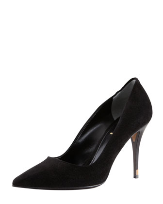 Pointed-Toe Wood-Heel Suede Pump
