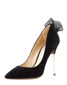 Frill-Back Suede Pump, Black/Gold