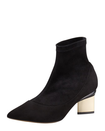 Stretch Suede Pointed-Toe Bootie, Black