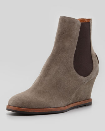 Suede Wedge Ankle Boot, Steel
