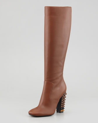 Napa Stud-Heel Knee Boot, Brown