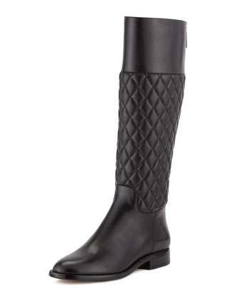 Mina Quilted Leather Knee Boot