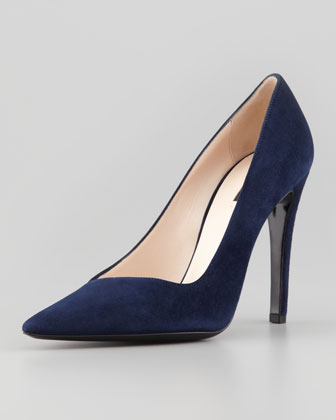 Asymmetric Pointed-Toe Pump, Blue