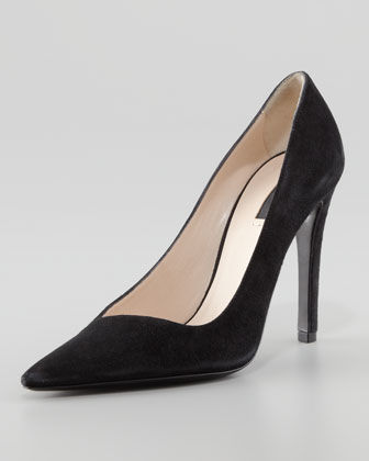 Asymmetric Pointed-Toe Pump, Black