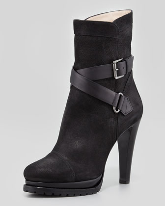Suede Buckled Cap-Toe Bootie