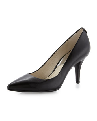 Flex Mid-Heel Leather Pump