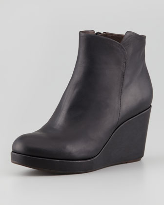 Hayleigh Leather Platform Wedge Bootie