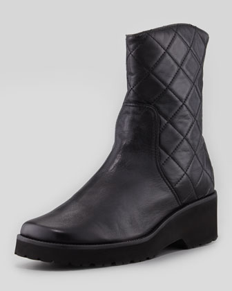 Quinn Quilted Leather Bootie, Black