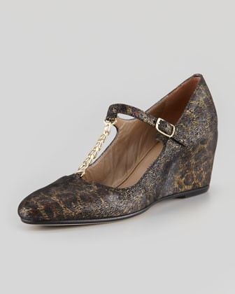 Kristen T-Strap Leopard Wedge, Brown Multi