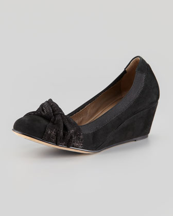 Rosie Stretch Suede Bow Wedge