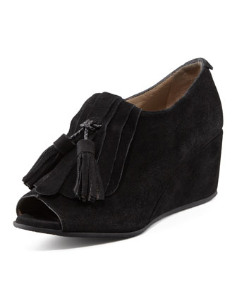 Jessie Suede Tassel Wedge, Black