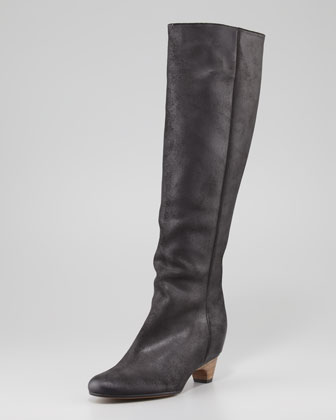 Nubuck Low-Heel Knee Boot