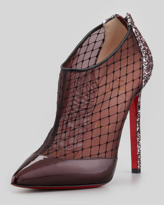 Fillette Patent/Mesh Glitter-Heel Bootie