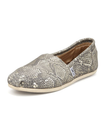 Metallic Snake-Print Leather Slip-On, Gold Multi