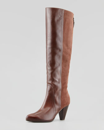 Lombardia Suede-Back Knee Boot, Tan