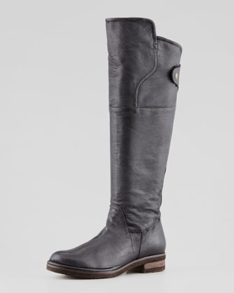 Vernazza Leather Knee Boot, Black