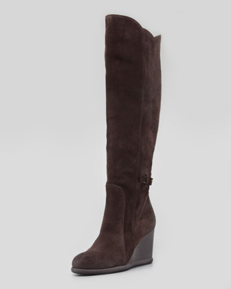 Marsala Suede Wedge Knee Boot
