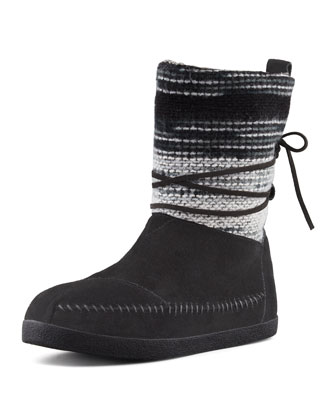 Striped Suede Nomad Boot, Black