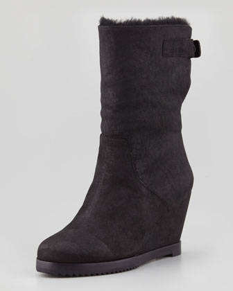 Glad Shearling-Lined Wedge Boot, Black