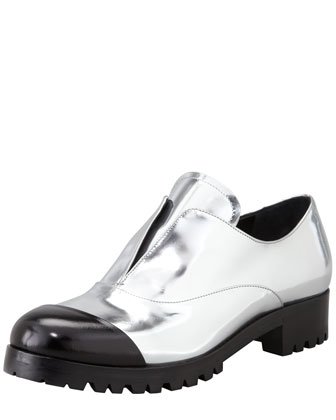 Metallic Laceless Cap-Toe Oxford