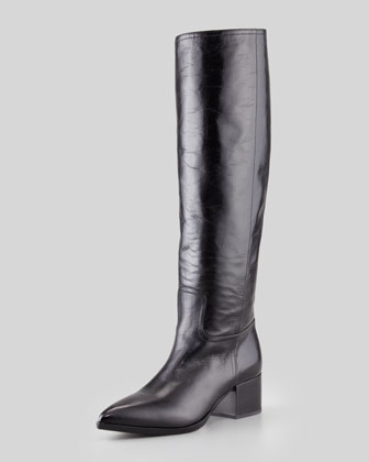 Pointed-Toe Leather Knee Boot, Black