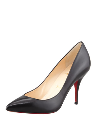 Piou Piou Leather Pointy Red Sole Pump, Black