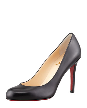Simple Round-Toe Kidskin Red Sole Pump, Black