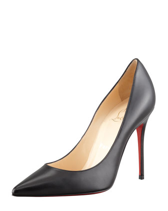 Decollette Pointed-Toe Red Sole Pump, Black
