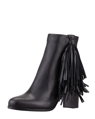 Jimmynetta Fringe Ankle Boot, Black