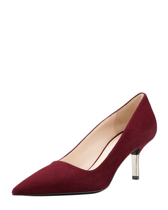 Low-Heel Suede Pointed-Toe Pump, Garnet